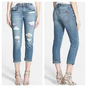Joes Jeans Slim Crop Distressed Boyfriend Jeans
